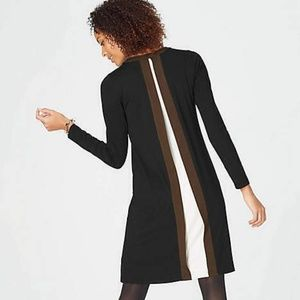 Shift Dress Color Block Layered Back Long Sleeve